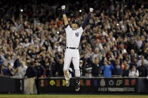 Jeter Leaps Following His Walk-Off Hit.