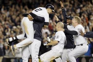 Teammates Celebrate With Jeter.