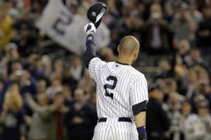 Jeter Acknowledges The Yankee Stadium Crowd.
